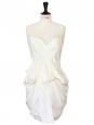 Robe de cocktail bustier drapée en soie blanche Px boutique 1435€ Taille 38
