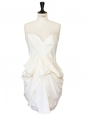 White draped silk strapless dress Retail price €1435 Size 38