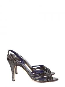 Sandales à talon en cuir métallisé gris et noir Taille 38