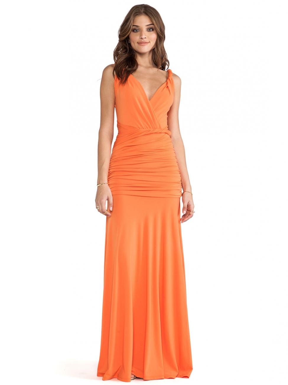 5abc9396728 Louise Paris - HALSTON HERITAGE Tangerine sleeveless draped jersey gown  Size 36