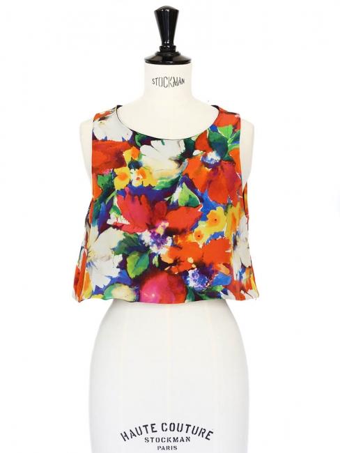 """""""Garden"""" print silk sleeveless crop top Size 36"""