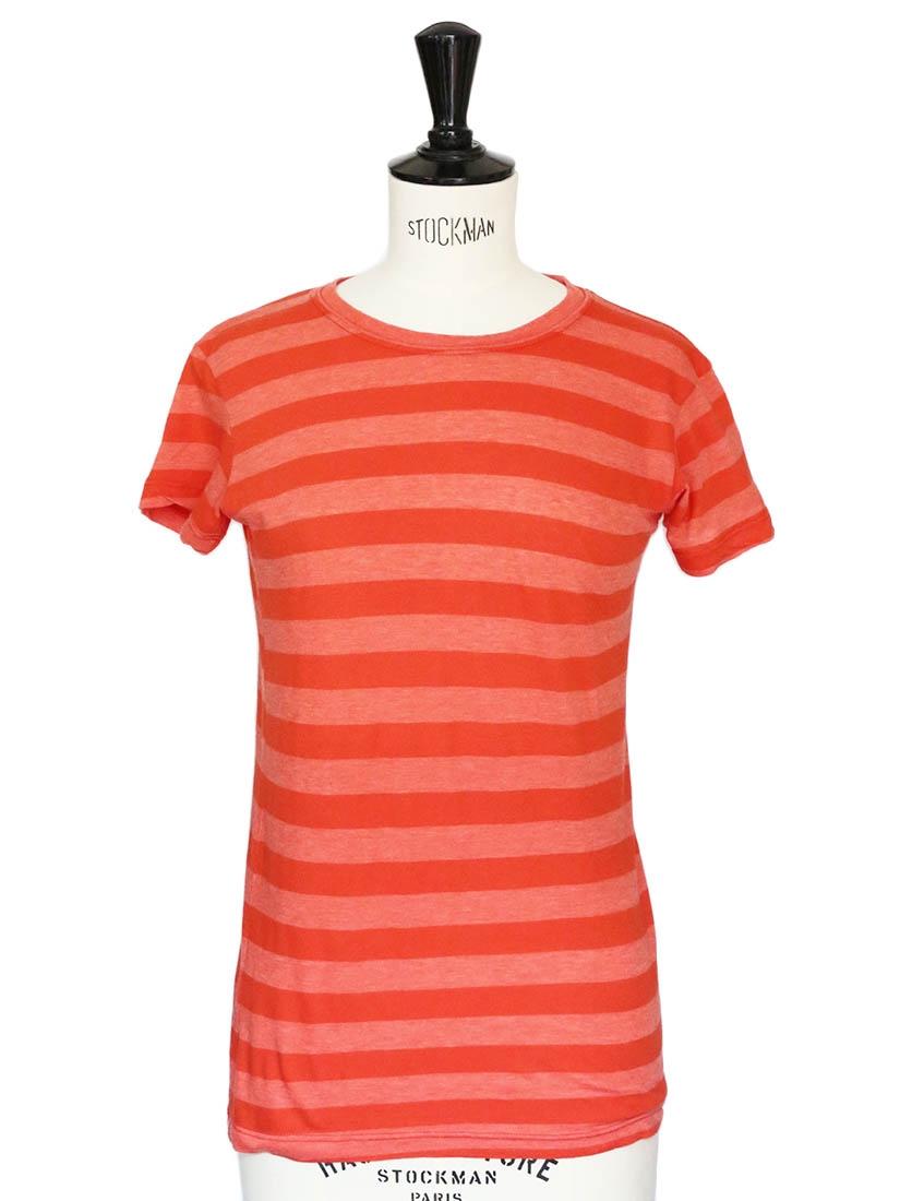 louise paris vintage t shirt en coton orange rayures taille 34 36. Black Bedroom Furniture Sets. Home Design Ideas