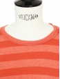 T-shirt en coton orange à rayures Taille 34/36