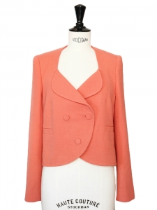 Tangerine pink wool crepe three buttons short blazer jacket Retail price 490€ NEW Size 36