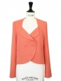 Tangerine pink wool crepe three buttons short blazer jacket Retail price 490€ NEW Size 36