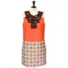 louise paris chloe robe couture orange imprim seventies et lavalli re brod e px boutique 2500. Black Bedroom Furniture Sets. Home Design Ideas