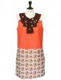 Seventies style print Couture dress with embroidered ascot collar Retail price €2500 Size 40