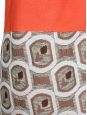 Robe Couture orange imprimé Seventies et lavallière brodée Px boutique 2500€ Taille 40
