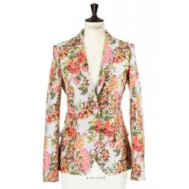 Neon orange and pink color floral jacquard blazer jacket Retail price €1200 Size 36/38