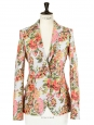 Neon orange and pink color floral jacquard blazer jacket Retail price €1200 Size 36/38