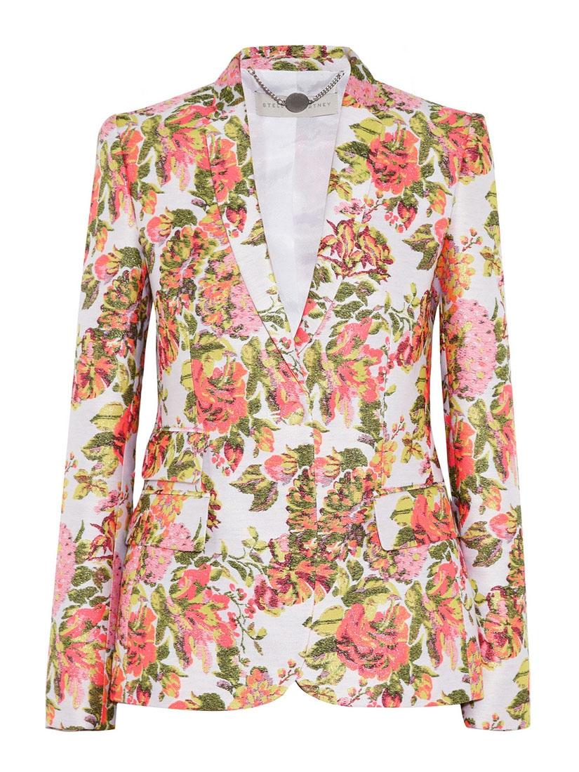 98c6bce3316b Louise Paris - STELLA MCCARTNEY Neon orange and pink color floral jacquard  blazer jacket Retail price €1200 Size 36 38