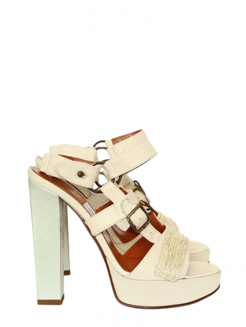 Beige and light green patent leather sandals with high heels Retail price 750€ NEW Size 37