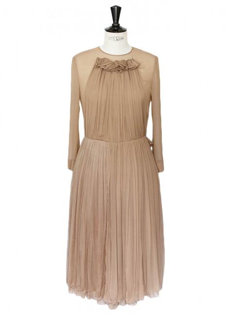 Dark beige pleated tulle and silk veil dress with ruffles Retail price around €3000 Size 36