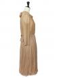 Dark beige pleated silk veil dress with ruffles NEW Retail price around €3000 Size 36
