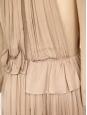 Robe manches longues en voile de soie plissé beige foncé transparent NEUVE Px boutique environ 3000€ Taille 36