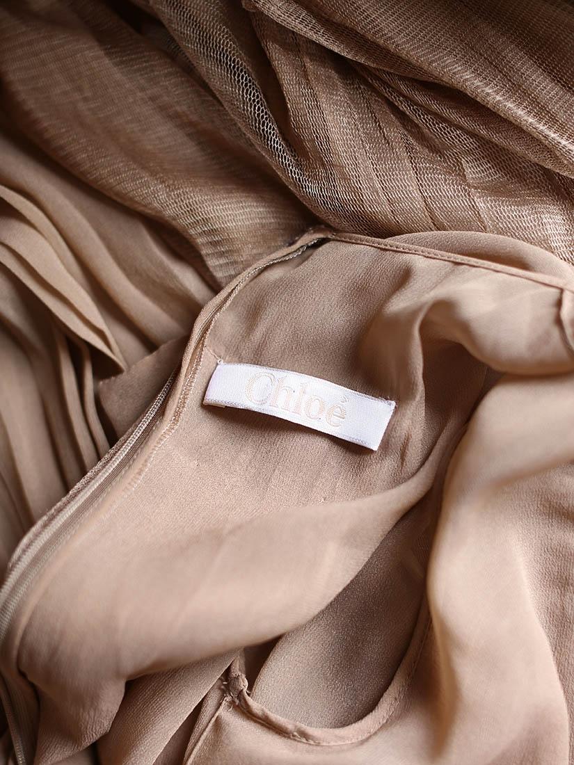 dcd9110f0ec ... Robe manches longues en voile de soie plissé beige foncé transparent  NEUVE Px boutique environ 3000 ...