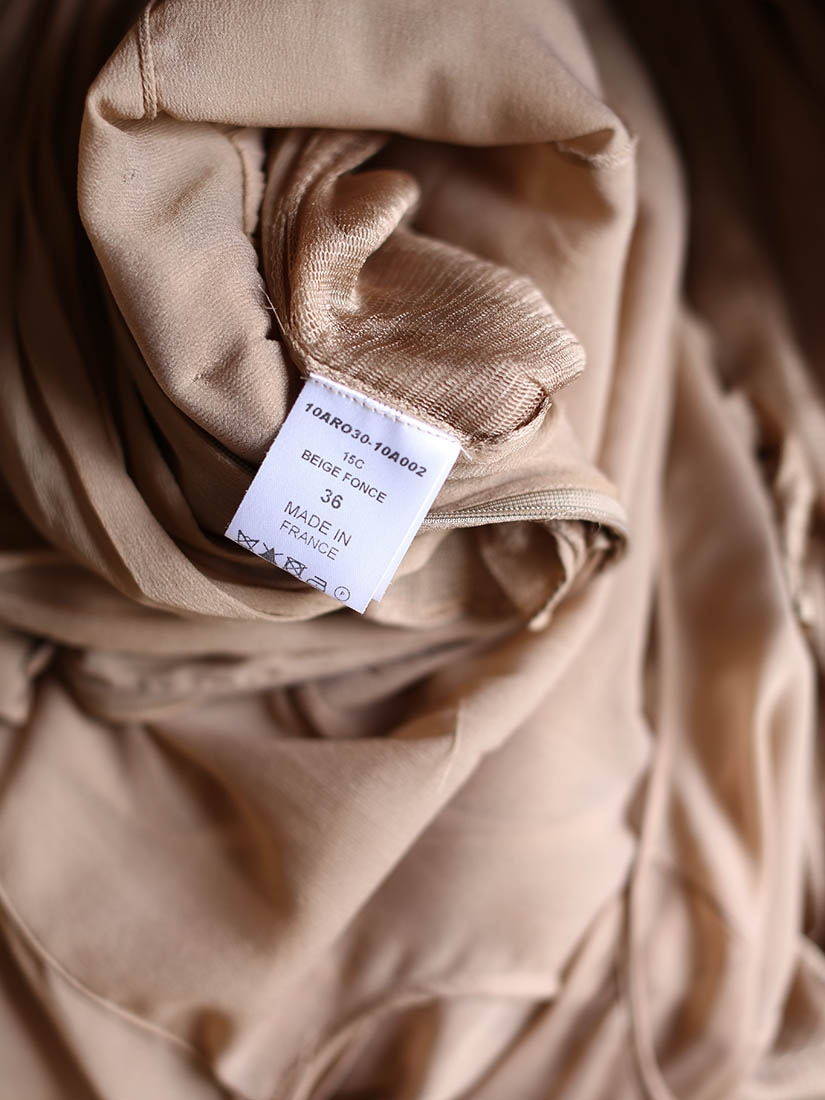 1724713bfde ... Robe manches longues en voile de soie plissé beige foncé transparent  NEUVE Px boutique environ 3000