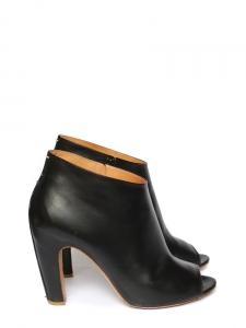 2ebefa105608 Bottines peep-toe en cuir noir Px boutique 755€ Taille 41