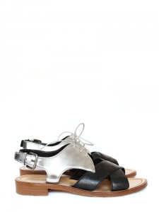 Metallic silver and black leather open toe flat sandals Retail price €718 Size 38.5