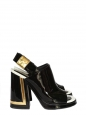 Ceres black and gold patent leather slingback sandals Retail price €590 Size 38