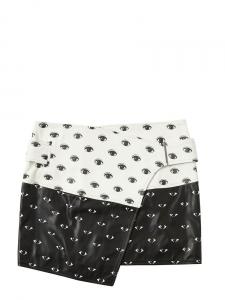 EYE black and white leather mini skirt Retail price €870 Size 36