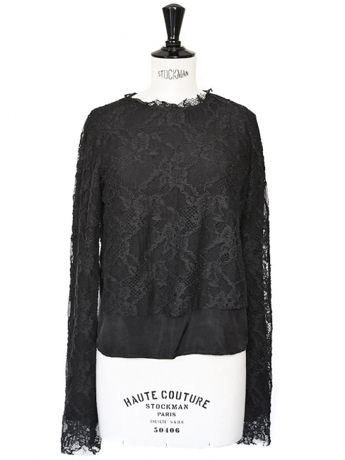 COMING SOON Black lace and silk long sleeves top NEW Retail price €197 Size 36