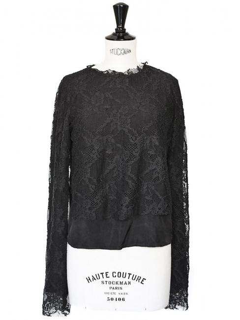 Top COMING SOON en dentelle et soie noir NEUF Px boutique 197€ Taille 36