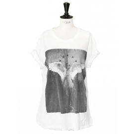 White short sleeves t-shirt printed with a black angel Retail price 550€