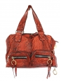 Red orange snakeskin leather Silverado bag Retail price around €2450