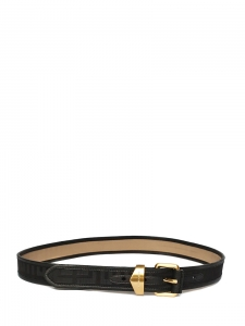 Black leather belt with monograms Retail price around €300 Size M
