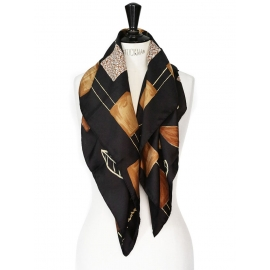Handmade black, brown and yellow silk scarf by GALERIE MAEGHT