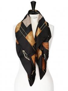 Foulard Couture de la Galerie MAEGHT en soie noire imprimé brun et jaune