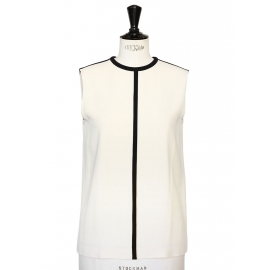 Ecru white and black silk crepe graphic top NEW Retail price €650 Size 36