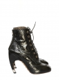 Black leather and elaphe curved heel boots Retail price over €2000 Size 40
