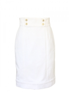 High waist white cotton denim skirt Retail price around €1000 Size 36