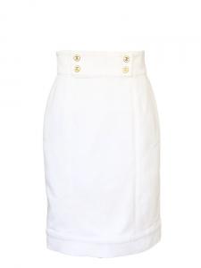 Jupe tube coupe droite moulante en coton denim blanc Px boutique environ 1000€ Taille 36