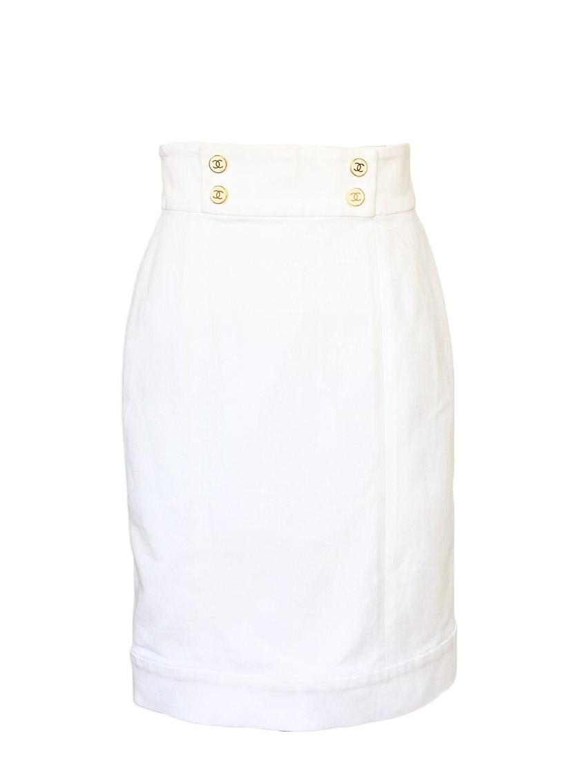 da9923c3ee75 Jupe tube coupe droite moulante en coton denim blanc Px boutique environ  1000€ Taille 36 ...