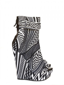 Bottines peep toe à talon compensé imprimé graphique noir et blanc NEUVES Px boutique 990€ Taille 37
