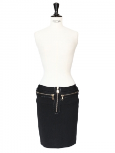 Black gold zipper stretch skirt NEW Retail price €1590 Size 36
