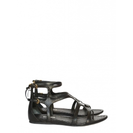 Black leather flat gladiator sandals Retail price 550€ Size 40
