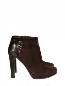 Brown leather and suede calfskin ankle boots Retail price around €700 Size 36,5