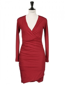 Burgundy red jersey long sleeves body con dress NEW Size 38/40