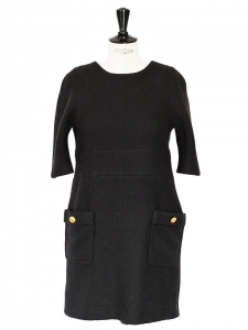 Black wool and mohair short sleeves dress with gold buttons Retail price 1100€ Size M