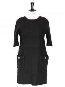Robe manches 3/4 en laine et mohair noir boutons dorés Px boutique 1100€ Taille M
