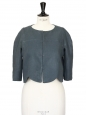Peacock blue linen touch short bolero jacket Retail price €1100 Size 36