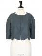 Veste courte boléro scalloped toucher lin bleu canard Px boutique 1100€ Taille 36