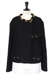 Gold chain embellished black wool jacket Retail price 1400€ Size 40