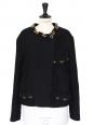 Gold chain embellished black wool jacket Retail price 1400€ Size 40
