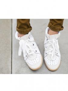 Baskets compensées sneakers BOBBY en cuir et daim blanc Px boutique 395€ Taille 38