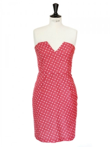 Scarlet red polka dots cotton and silk strapless dress Retail price €350 Size 40